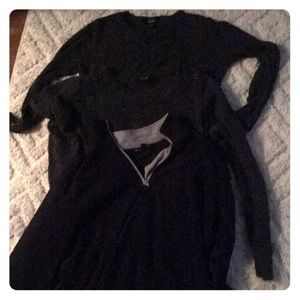 3 sweaters 2grey 1 navy blue with zipper